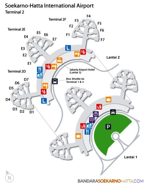 Peta Terminal 2 Bandara Soekarno Hatta (CGK), Cengkareng ...